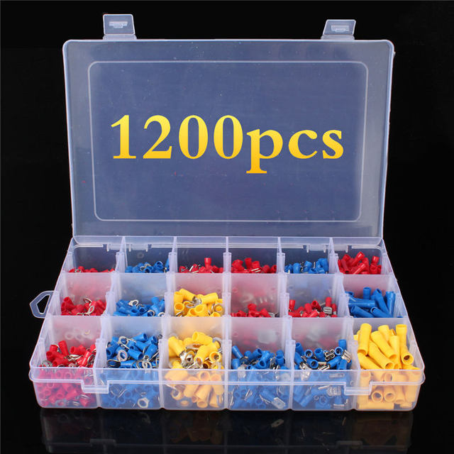 1200Pcs Assorted Crimp Terminals Set Kits Insulated Electrical Wiring Connectors Insulated Cord Pin End Terminal Kit