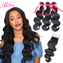 Ms Love Human Hair Bundles Med Lace Closure Brasilian Hair Wave Body Wave Bundles Med Closure Non Remy Human Hair Extensions