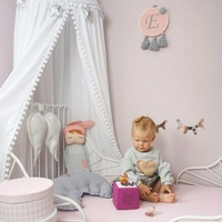 Hairball DIY Princess Canopy Bed Curtains Hanging Dome Tent White/Grey/Pink Children Room Decoration