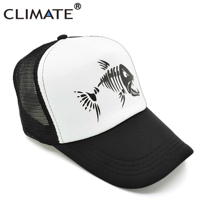 ab229b3ef1 ... CLIMATE Men Fishbone Trucker Cap Fish Bone Fishing Hip Hop Baseball Caps  Summer Cool Men Youth ...