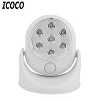 ICOCO 6V 7LED Cordless Motion Activated Sensor Light Lamp 360 Degree Rotation Wall Lamps White Porch