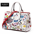 NAWO Leather Bags Women 2016 High Quality Luxury Handbags Women Bag Designer Cartoon Printing Character Women Shoulder Bags Tote
