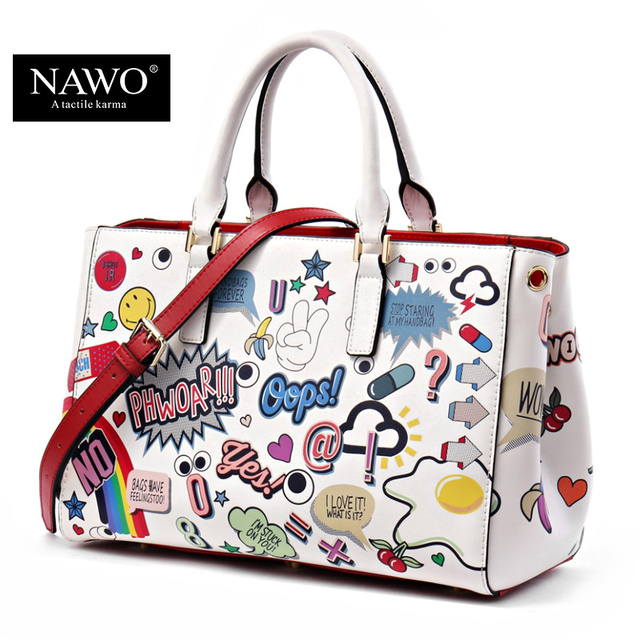 NAWO Split Leather Bags Women High Quality Luxury Handbags Women - Cartoon handbags
