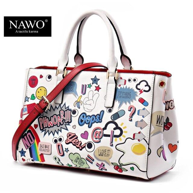 NAWO Split Leather Borse Donna di Alta Qualità di Lusso del Progettista del Sacchetto Borse Del Fumetto Carattere Stampa Donne Borsa A Tracolla Tote