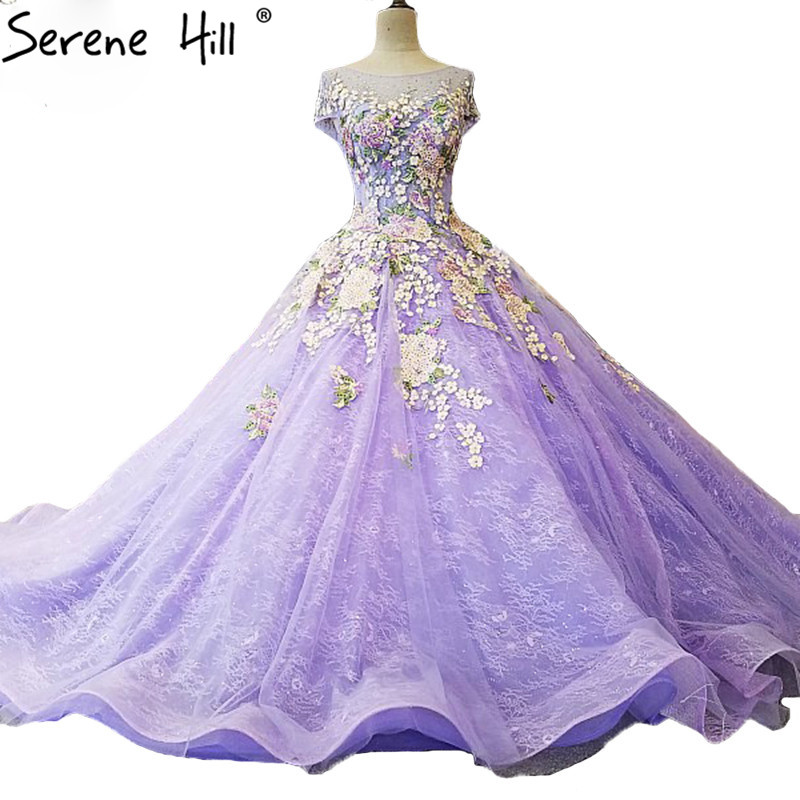 Purple High-end Lace Embroidery Flowers Wedding Dresses Fashion Luxury Sleeveless Bridal Gown 2019 Vestido De Noiva