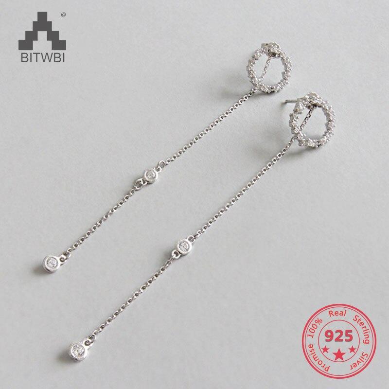 S925 sterling silver hollow anello micro-intarsiato zircone orecchini lunghi della nappa