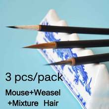 3 pcs/set Chinese Calligraphy Brush Weasel hair Drawing WaterColor mouse Art Supply Stationary Gift