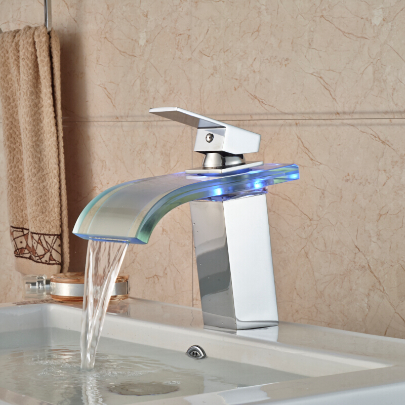 Bathroom Basin Sink 3 Color LED Faucet Tap Polished Chrome Glass Waterfall Spout