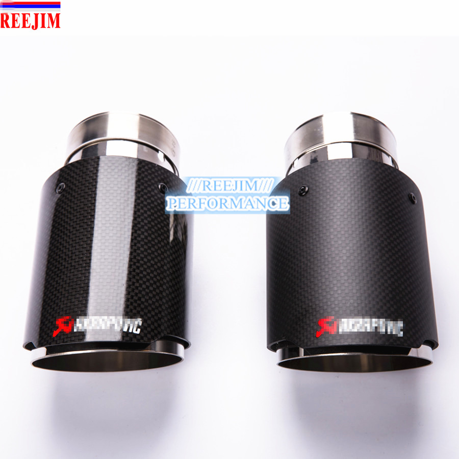 2017 NEW Light carbon fiber Stainless Steel Akrapovic  Car Exhaust Tip  car-styling Inlet 63mm (2.5