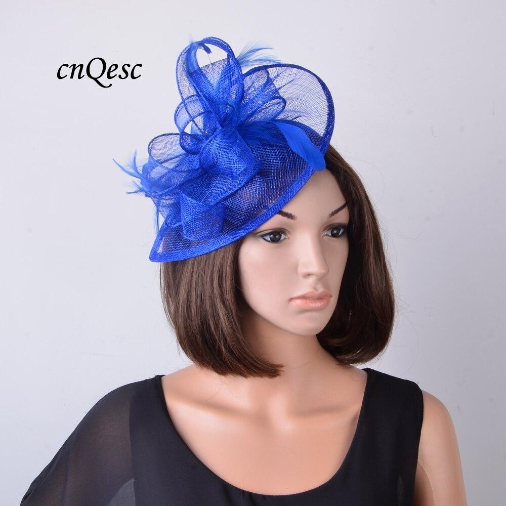 Nouveau Cobalt bleu royal Sinamay Fascinator mariage chapeau accessoires de mariée sur satin bandeau pour Derby, courses d'ascot, église