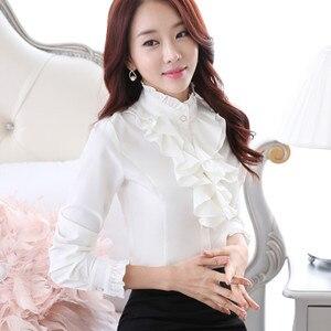 Image 5 - Высококачественная шифоновая блузка с длинным рукавом, элегантная женская рубашка с оборками, облегающая офисная блузка, Женская рабочая одежда, женские топы