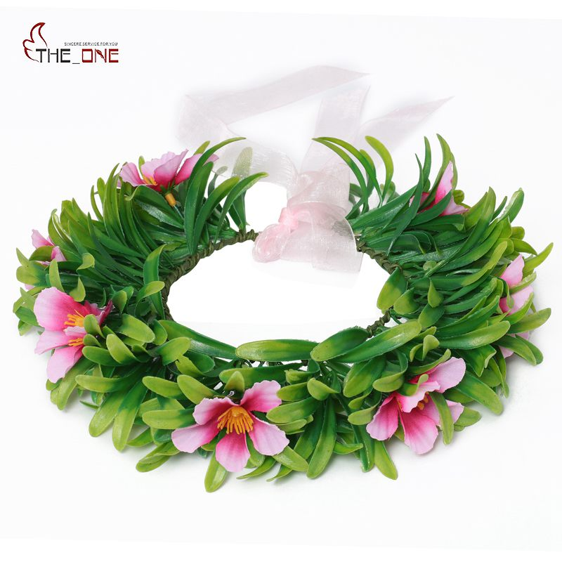 MUABABY Girls Moana Garland Kids Cartoon Head Accessories Children Adult Wig Necklace Floral Hoop Headwear Moana Party Supplies