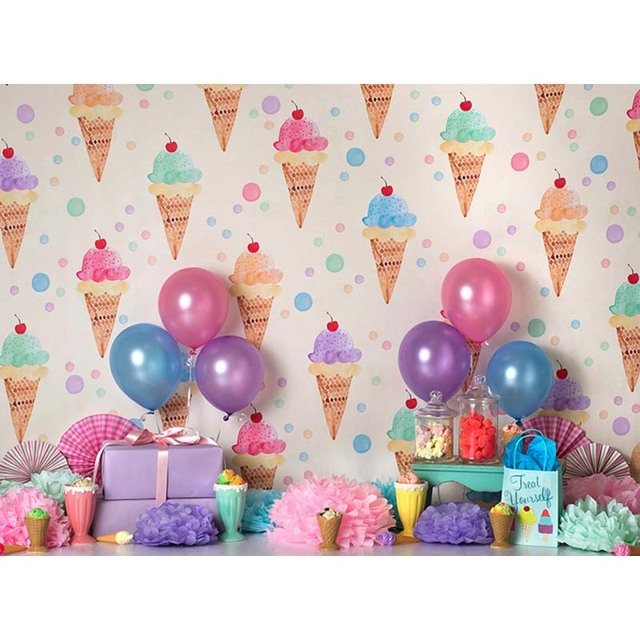 Vinyl Photography Background Cherry Ice Cream Gifts Candy Cake Balloon Newborn Birthday Party Custom Photo Backgrounds ZR 183 In From Consumer