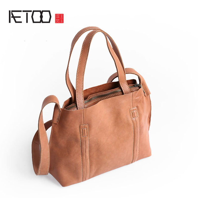 AETOO Simple European style first layer of leather retro leather shoulder bag Messenger bag aetoo 2017 new packet of female leather first layer of leather retro style personality simple shoulder bag