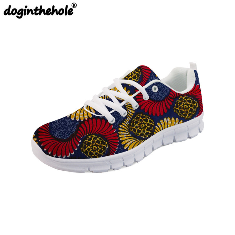 7482817edd doginthehole Women Walking Shoes Vintage African Traditional Printed Female Sneakers  Breathable Sport Shoes for Women Mesh Flats-in Walking Shoes from ...