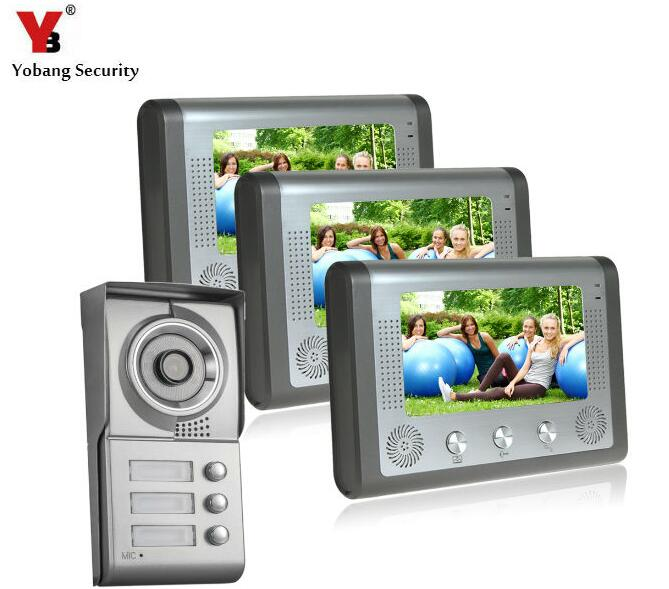 YobangSecurity 7 Inch Video Door Phone Doorbell Video Entry System Intercom Kit 1-camera 3-monitor Night Vision For 3 Apartment 7 inch video door phone doorbell intercom kit 1 camera 1 monitor