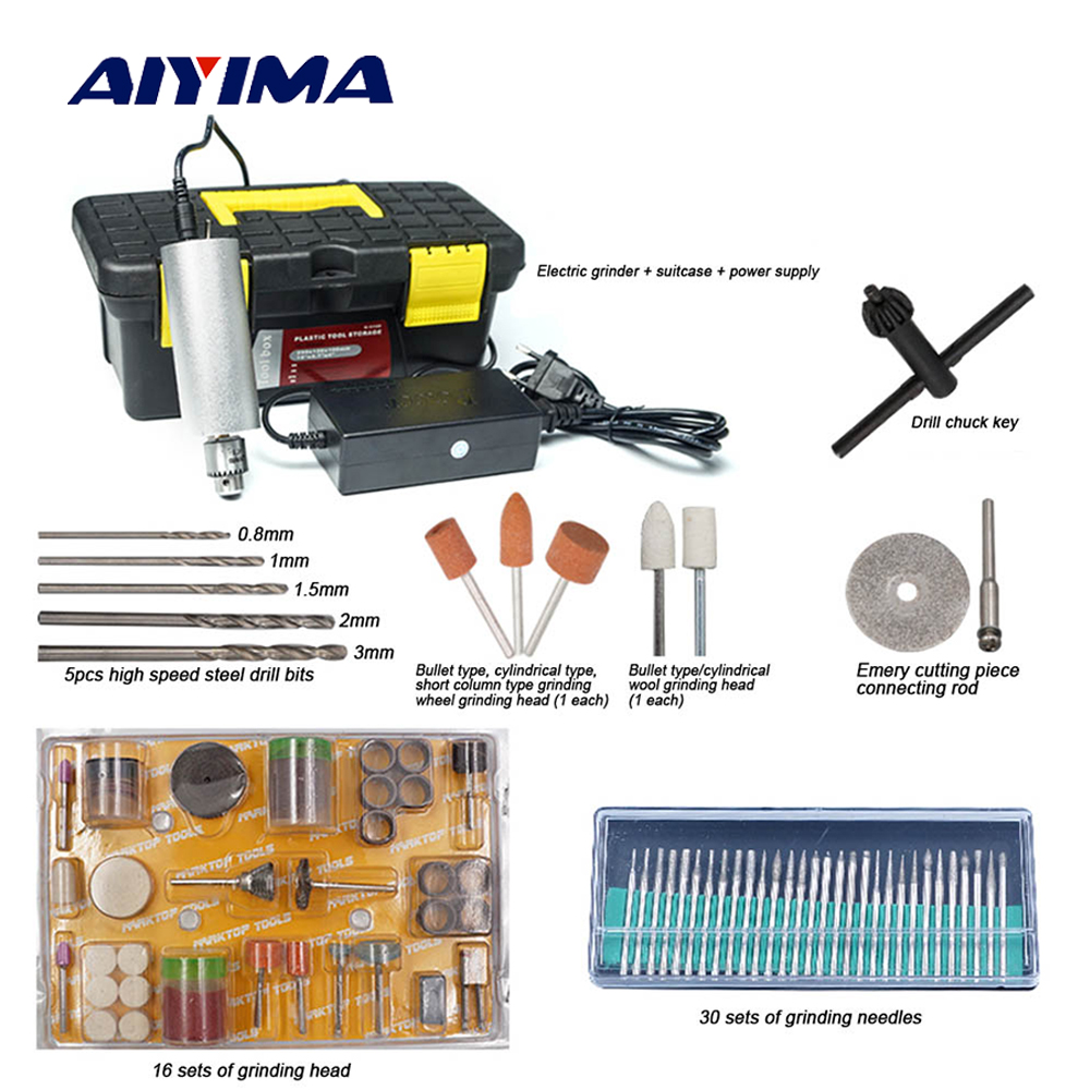 Aiyima Miniature Electric Drill Hand Drill Mini Pearl Jade Manual Perforation Grinding Polishing Cutting Engraving wl 500 mini hand drill grinding machine kit with box pack of miniature electric engraving tool drill free shipping