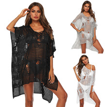 Beach Dresses Robe Plage Bathing Suit Cover Ups Cape On Swimsuit Women's Summer Tunic Irregular Hollow Sexy Knitted Loose Dress