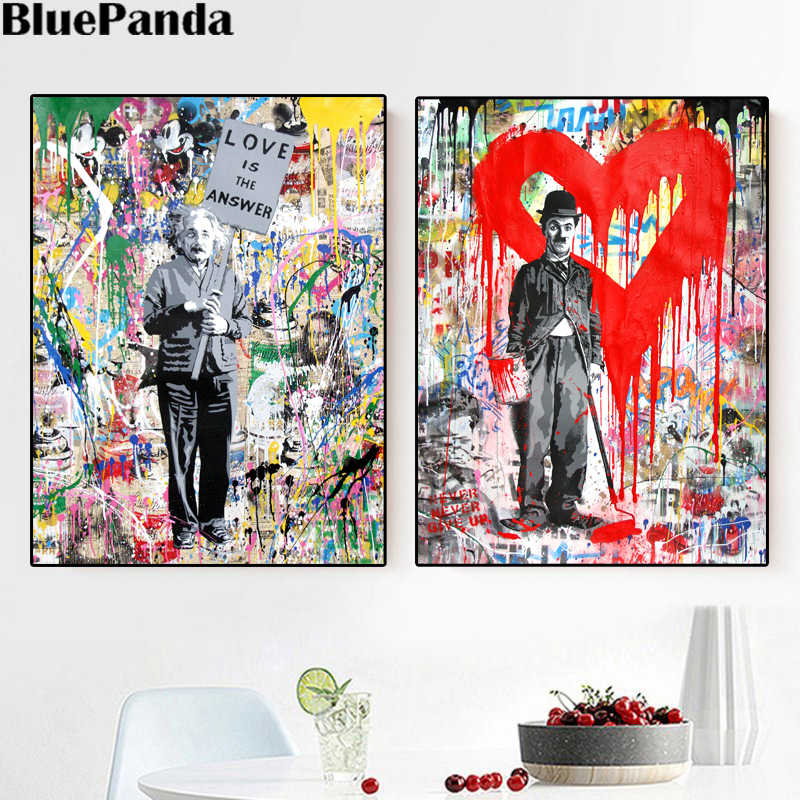 Einstein Charlie Chaplin  Poster Banksy Monkey Street Art Canvas Painting Mr Brainwash Oil Modern Wall Prints Living Room Decor