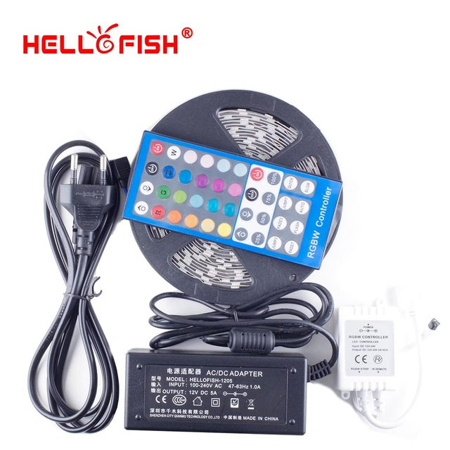 Hello Fish 5m 300 LED 5050 LED Strip light DC 12V RGBW LED Tape With 12V 5A Power Adapter &RGBW Controller