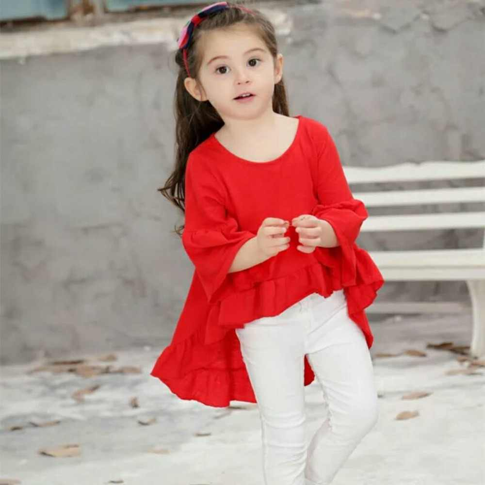 799ea2d3cbd25 Cotton Toddler Kids Baby Girls Kids Children Outfits Dress Clothes for 2-8  Years White Black Red Flare Sleeve Party Tutu Dresses