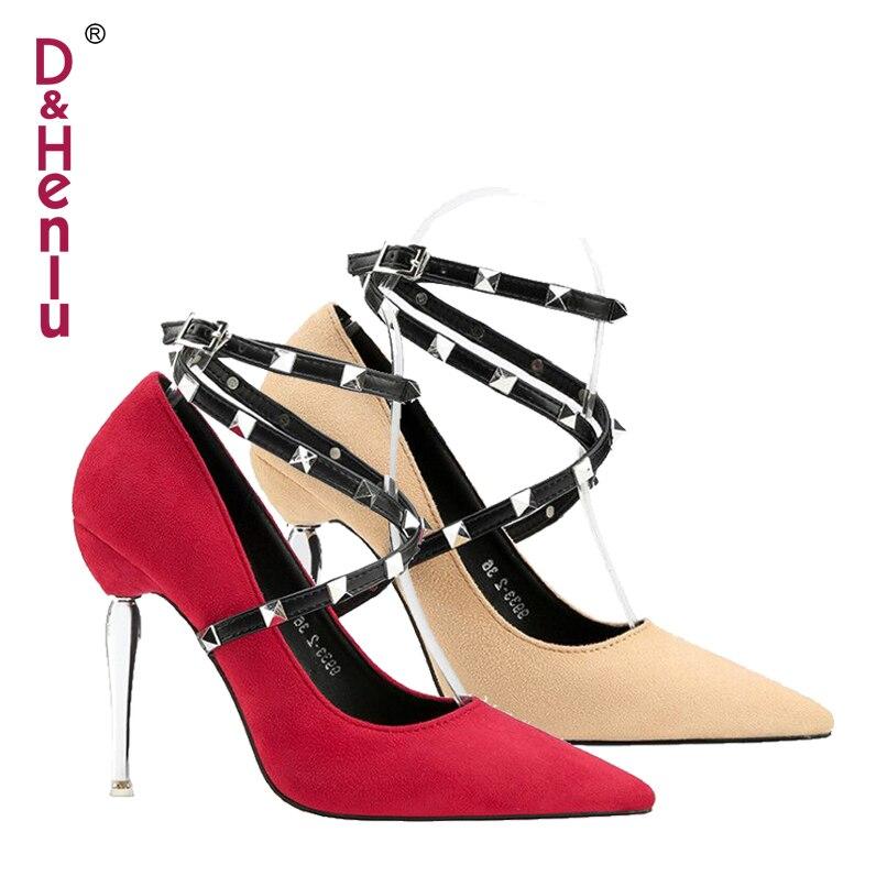 Atado 2018 Banda De Heels {d apricot Otoño Black red Heels Estrecha Gamuza Zapatos Mujer Heels Rojo Tacones amp; pink Heels Fiesta Henlu} Nueva Stiletto 4PP1qY8