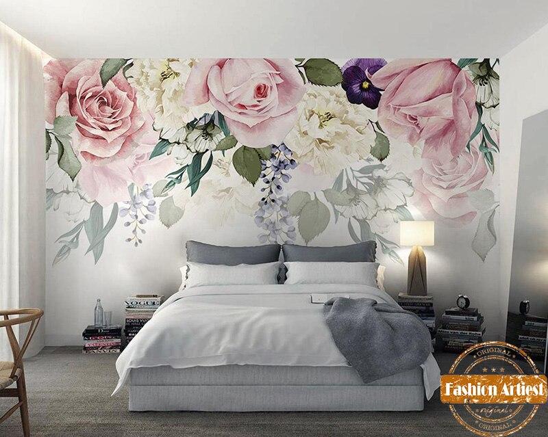 US $20.99 |Custom flower sea hand painting wallpaper mural romantic pink &  white rose tv sofa bedroom living room cafe bar restaurant-in Wallpapers ...