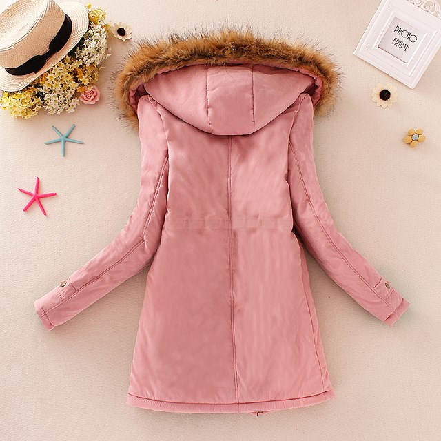 HTB1SYDBXh2rK1RkSnhJq6ykdpXat 2019 Winter New Women's Hooded Fur Collar Waist And Velvet Thick Warm Long Cotton Coat Jacket Coat