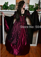 Vintage Wine Red Printing  Costumes 1860s Civil War Southern Belle Ball  /Gothic Lolita Dress Victorian Dresses