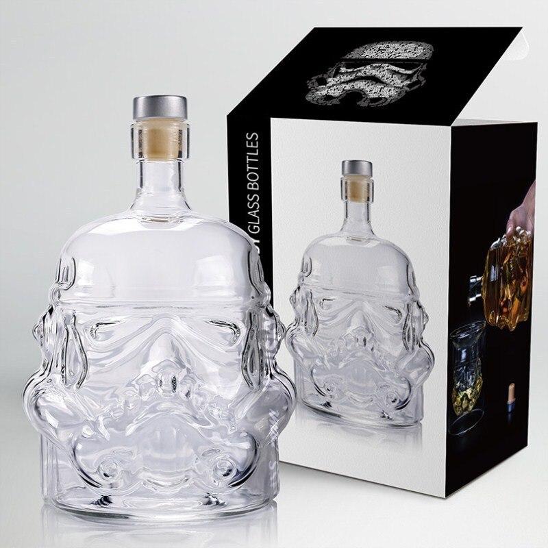1 pcs Storm Trooper Decanter Star Wars Soldat Blanc Verre Cruche Bouteille D'alcool Haute Bore Verre Bouteille Vin B 650 ml