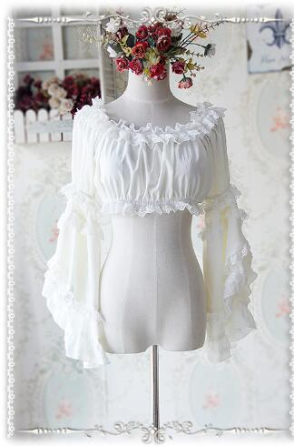 Sweet Detachable Flare Lace Sleeve Chiffon Blouse Ruffled Short Women s Crop Top 7 Colors by