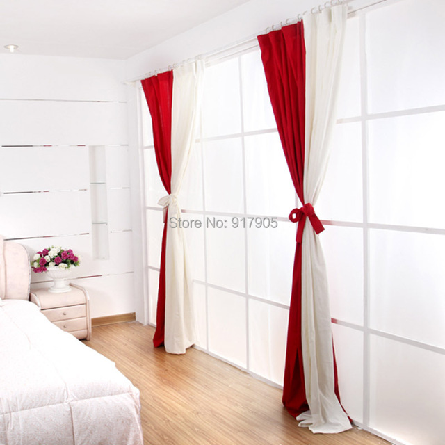 Fashion White And Red Curtains For Living Room Elegant Sheer