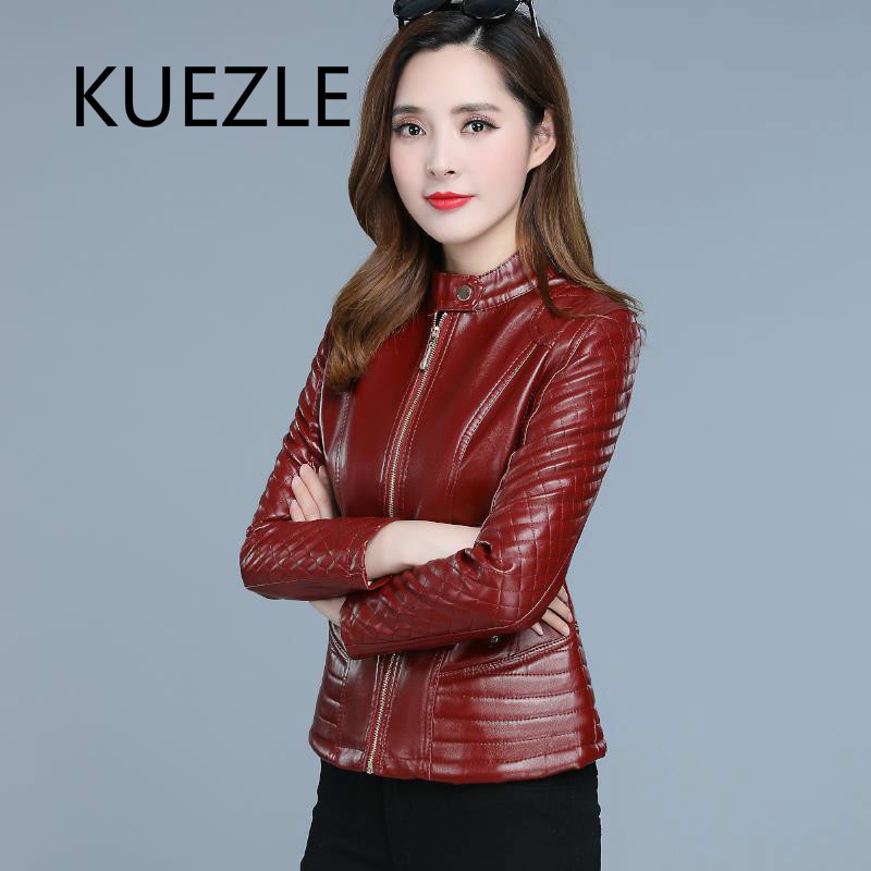 Fashion   leather   jacket female 2019 Korean version of the checkered pattern PU long coat bomber jackets women autumn coats M-6XL
