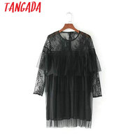 Tangada Sexy See Through Ruffles Black Lace Mesh Dress Long Sleeve O-neck Retro Party Dresses Ladies Vestidos Mujer CC43