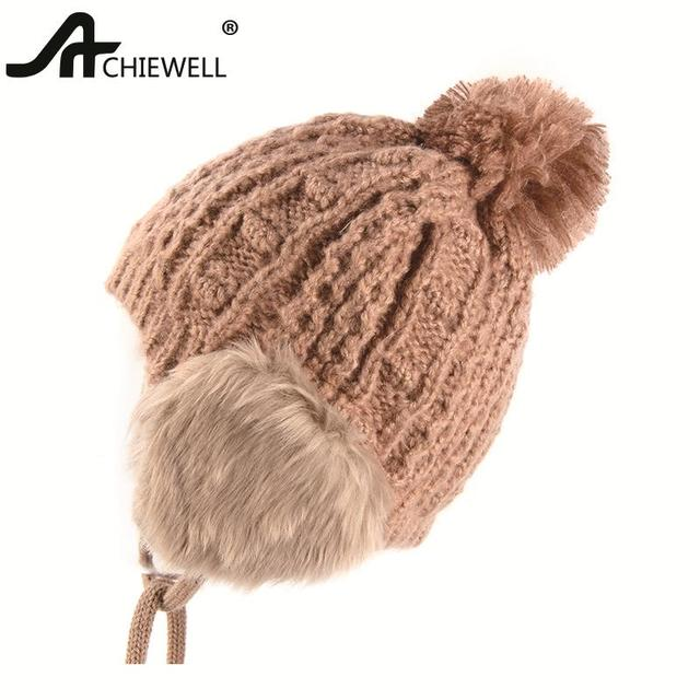 Achiewel Pom Pom Winter Hat For Women Camel Color Knitted Warm Hat Female  Beanie Cap Girl Hats d98d95885ca