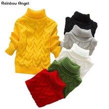 Для мальчиков и девочек витой свитер для маленьких детей, свитер из кофточка с резинкой для девочек водолазки, свитера, пуловеры для детей модная детская одежда толстые зимние вязаные свитера