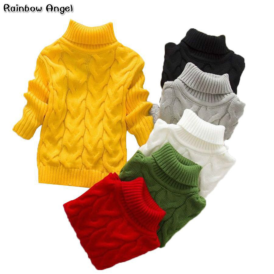 Boy Girl Twisted Sweater Toddler Girls Bottoming Cuello alto Suéter Jerseys Moda Infantil Grueso prendas de punto Suéteres de invierno