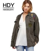 HDY Haoduoyi Women Zipper Jacket Turn-down Collar Loose Preppy Style Autumn Coat 2019 New Arrival Outwear for Female