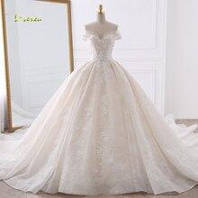 Loverxu Vestido De Noiva милое кружевное свадебное платье для принцессы эффектное с открытой спинкой и аппликацией цветной бисер свадебные платья