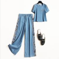 European and American women's fashion 2019 spring new style T shirt Nine minutes of pants Wide legged pants denim suit