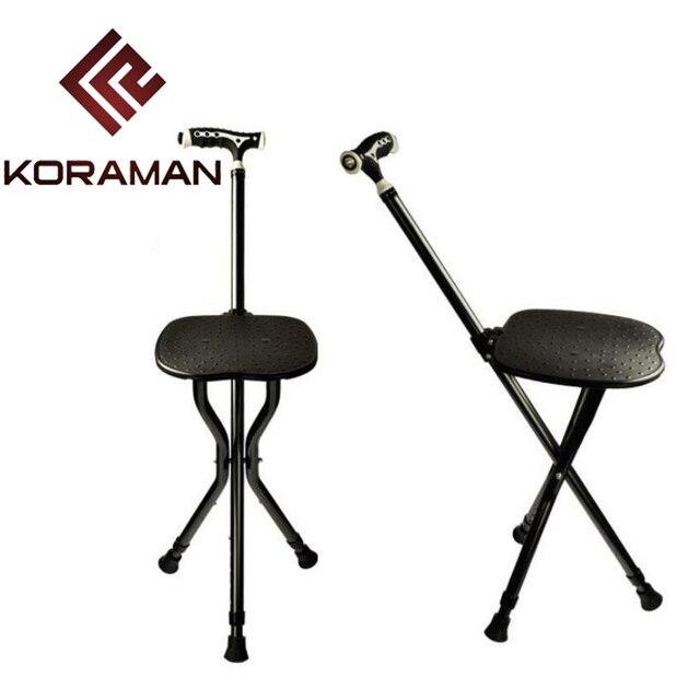 KORAMAN Old Man Walking Stick For Elderly Stool Folding LED Walker Stick  Trekking Cane Stools Chair