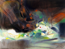 frameless canvas paintings contemporary abstract paintings masterpiece reproduction untitled by  Chu Teh-Chun art недорого