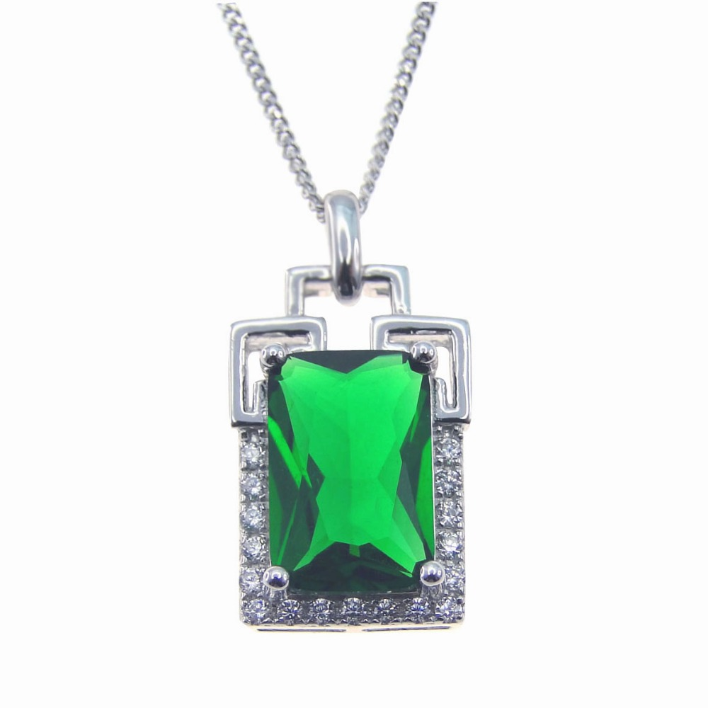 100% 925 Sterling Silver Jewelry Green Stone Women Pendant Fashion 2017 Brand Fine Jewelry for Women Nice gift without Chain