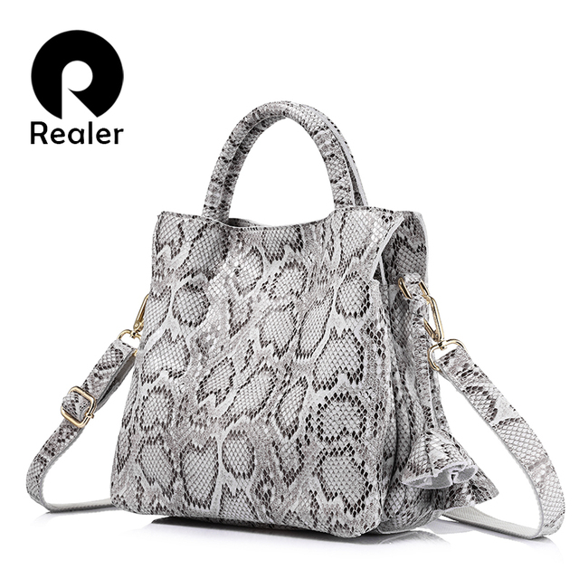 REALER brand new women handbag serpentine print genuine leather tote shoulder bag female fashion large capacity crossbody bags