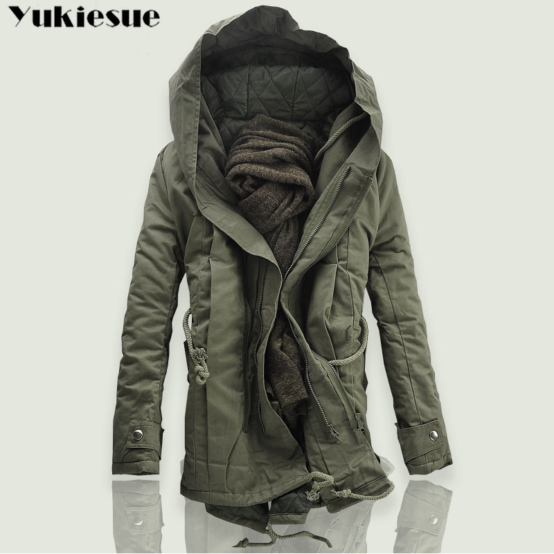 2018 New Men Padded Parka Cotton Coat Winter Hooded Jacket Mens Fashion large size Coat Thick Warm Parkas Black army green 6XL(China)