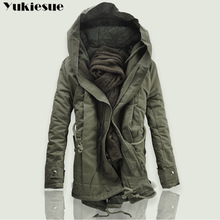 2018 New Men Padded Parka Cotton Coat Winter Hooded Jacket M