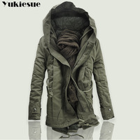 2018 New Men Padded Parka Cotton Coat Winter Hooded Jacket Mens Fashion large size Coat Thick Warm Parkas Black army green 6XL