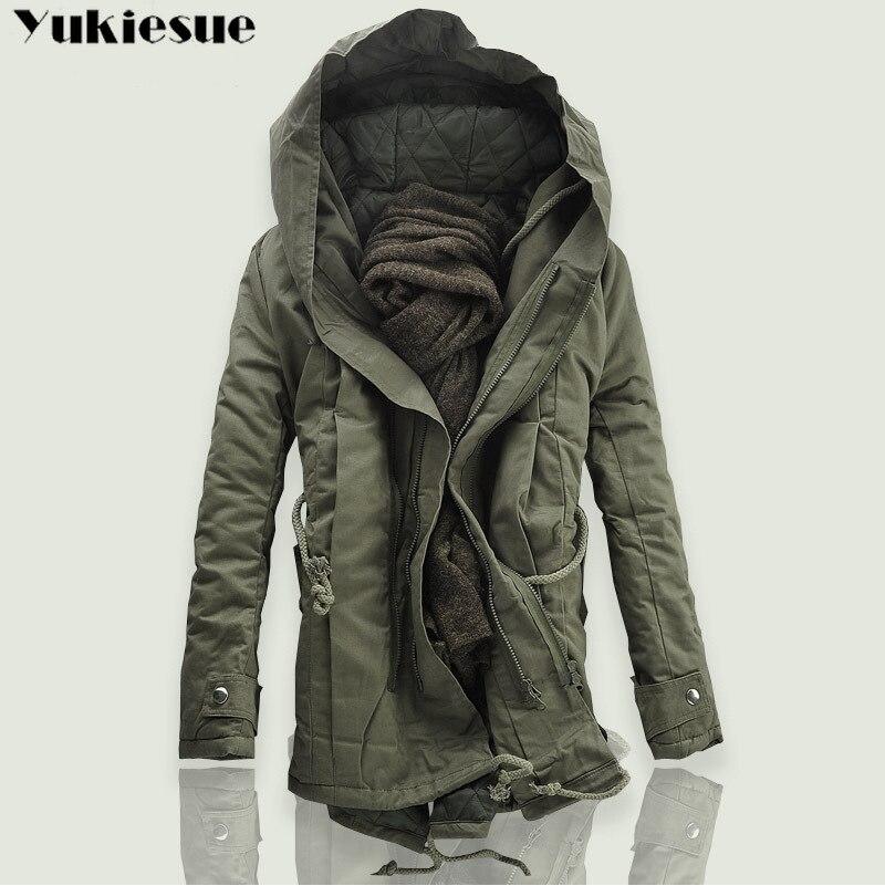 2018 nouveaux hommes rembourré Parka coton manteau hiver à capuche veste hommes mode grande taille manteau épais chaud Parkas noir armée vert 6XL