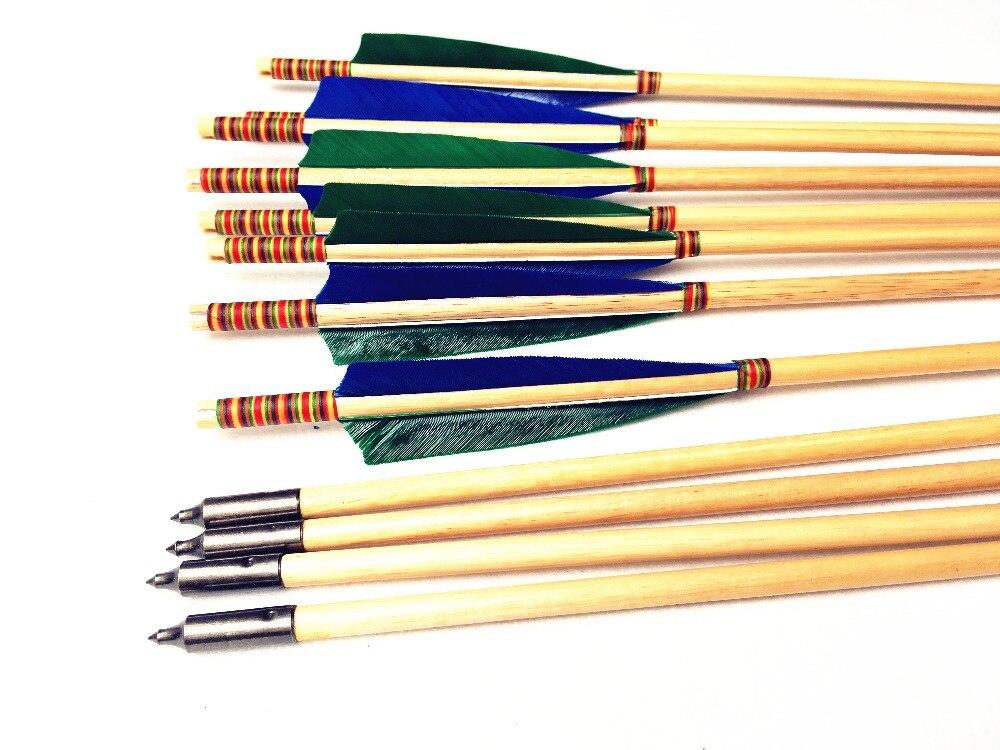 12 pk couleur vert bleu tête dinde plume flèche en bois pour tir à l'arc classique longbow chasse amoureux