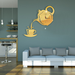 Creative DIY Acrylic Coffee Cup Teapot 3D Wall Clock Decorative Kitchen Wall Clocks Living Room Dining Room Home Decor Clock 039